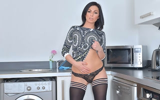 Hot British ma getting cranky all round the kitchen