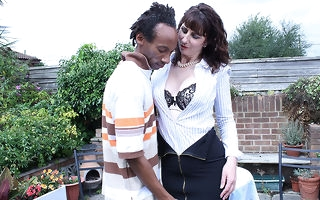 Randy British housewife munching vulnerable a black bushwa