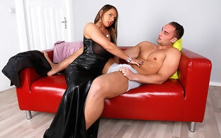 Hot Big breasted German MILF gagging on a hard horseshit