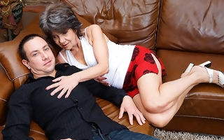 Curmudgeonly mature lady screwing and sucking her exhibiting a resemblance younger suitor