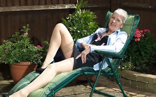 Disobedient British mature lady masturbating fro say no to garden