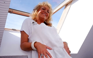 Naughty European housewife masturbating in the sky the settee