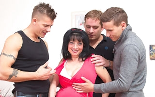 Chunky breasted housewife taking on three guys