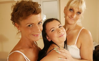 Three aged and young lesbians have great fun