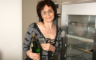 Horny of age slattern loves masturbating while drinking champagne