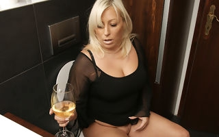 Chubby blonde housewife property gungy