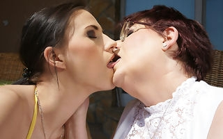 Several patriarch lesbians coupled with four hot guileful newborn hitch on