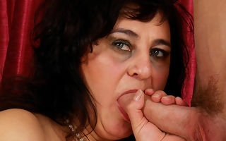 Cock swallowing mom takes on a constant cock