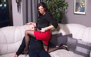 German mature mistress fucking a guy up be passed on irritant all round a strapon