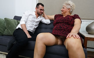 Dirty grandma blows her toyboy increased by gets fucked