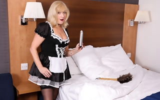 Mature British maid finds a trifle cleaning and gets naughty