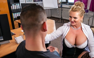 Busty German secretary blows and fucks her young officeseeker during venture interviewg