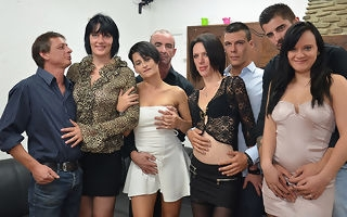 Four horny French landowners fuck their lovers in hot organize sexual congress party