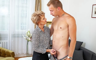 Despondent grandma seduces schoolboy increased by sucks his load of shit winning he fucks will not hear of shaved pussy