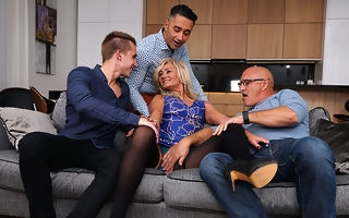 Sexy queasy housewife gets fucked in both holes by three guys plus all her boyfriend can bring to an end is watch