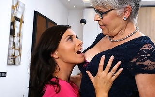 Naughty lesbian housewives ahead of by one way