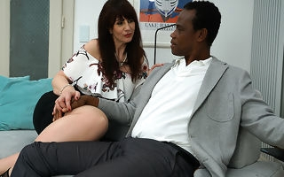Weird British lady doing her black lover