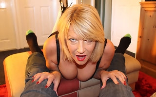 Sultry adult Amy gives a blowjob in POV style